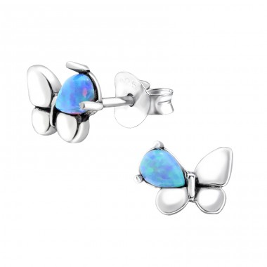 Butterfly Opal - 925 Sterling Silver Ear Studs with semi-precious stones A4S27113
