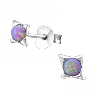 Star Opal - 925 Sterling Silver Ear Studs with semi-precious stones A4S27126