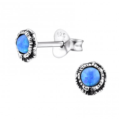 Shell Opal - 925 Sterling Silver Ear Studs with semi-precious stones A4S27128