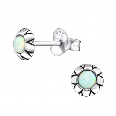 Round Opal - 925 Sterling Silver Ear Studs with semi-precious stones A4S27133