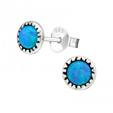 Round Opal - 925 Sterling Silver Ear Studs with semi-precious stones A4S27137