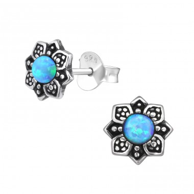 Flower Opal - 925 Sterling Silver Ear Studs with semi-precious stones A4S27140