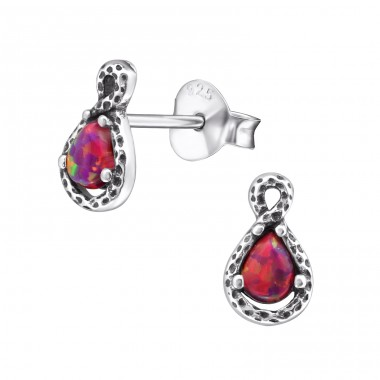 Pear Opal - 925 Sterling Silver Ear Studs with semi-precious stones A4S27150