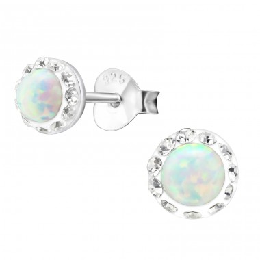 Round Opal - 925 Sterling Silver Ear Studs with semi-precious stones A4S27441