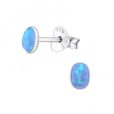 Oval Opal - 925 Sterling Silver Ear Studs with semi-precious stones A4S27445