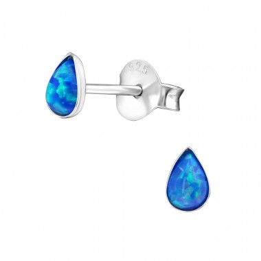 Pear - 925 Sterling Silver Ear Studs with semi-precious stones A4S27447