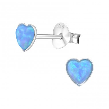 Heart Opal - 925 Sterling Silver Ear Studs with semi-precious stones A4S27457