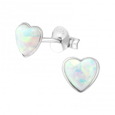Heart - 925 Sterling Silver Ear Studs with semi-precious stones A4S27458