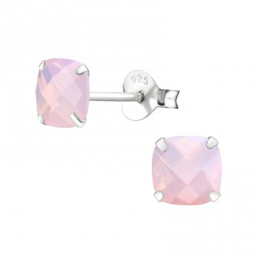 Square - 925 Sterling Silver Ear Studs with semi-precious stones A4S27981