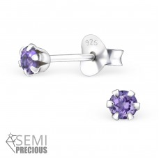 Round - 925 Sterling Silver Ear Studs with semi-precious stones A4S28175
