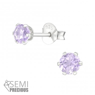 Round - 925 Sterling Silver Ear Studs with semi-precious stones A4S28176
