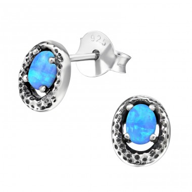 Oval Opal - 925 Sterling Silver Ear Studs with semi-precious stones A4S28272