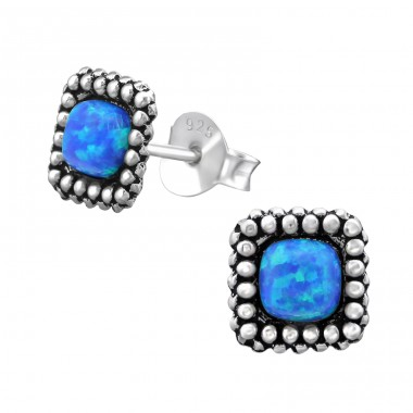 Square Opal - 925 Sterling Silver Ear Studs with semi-precious stones A4S28293