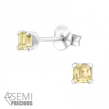 Square - 925 Sterling Silver Ear Studs with semi-precious stones A4S28312