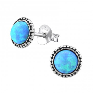 Round Opal - 925 Sterling Silver Ear Studs with Opal A4S29346