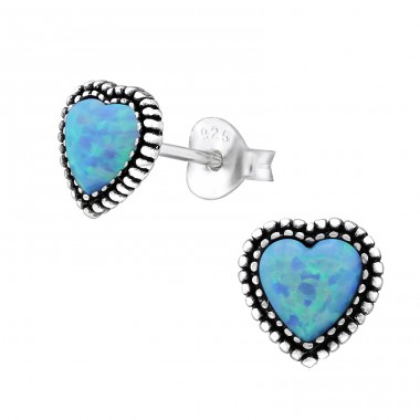Heart Opal - 925 Sterling Silver Ear Studs with semi-precious stones A4S29347