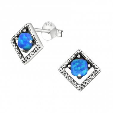 Square Opal - 925 Sterling Silver Ear Studs with semi-precious stones A4S29348