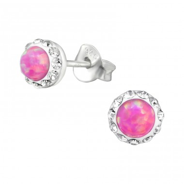 Colorful Opal - 925 Sterling Silver Ear Studs with semi-precious stones A4S30259