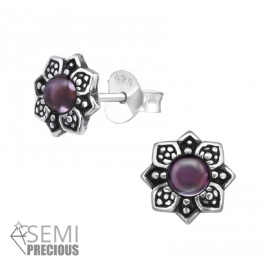 Flower - 925 Sterling Silver Ear Studs with semi-precious stones A4S30298