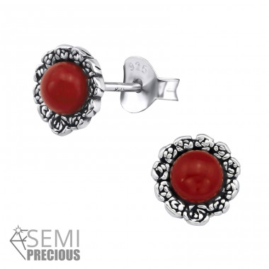 Flower - 925 Sterling Silver Ear Studs with semi-precious stones A4S30299