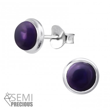 Round - 925 Sterling Silver Ear Studs with semi-precious stones A4S30300