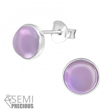 Round - 925 Sterling Silver Ear Studs with semi-precious stones A4S30301