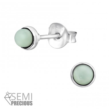 Round - 925 Sterling Silver Ear Studs with semi-precious stones A4S30302