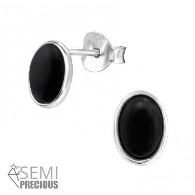 Oval - 925 Sterling Silver Ear Studs with semi-precious stones A4S30303