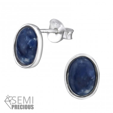 Oval - 925 Sterling Silver Ear Studs with semi-precious stones A4S30304