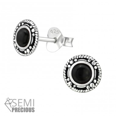 Oxidized Circle - 925 Sterling Silver Ear Studs with semi-precious stones A4S30937