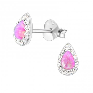 Teardrop Opal - 925 Sterling Silver Ear Studs with semi-precious stones A4S31049