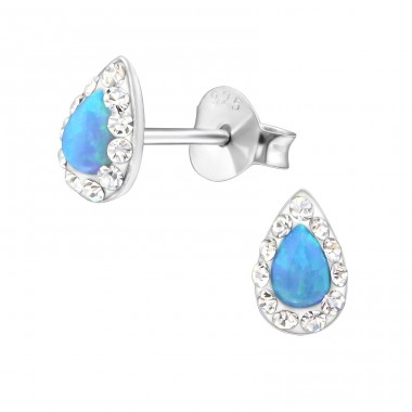 Teardrop Opal - 925 Sterling Silver Ear Studs with semi-precious stones A4S31050