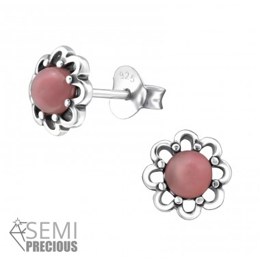 Flower - 925 Sterling Silver Ear Studs with semi-precious stones A4S31101