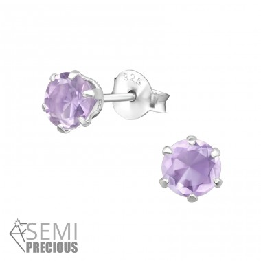 Round 5mm - 925 Sterling Silver Ear Studs with semi-precious stones A4S31146