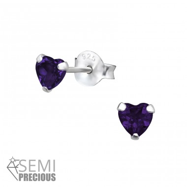 4 mm Heart - 925 Sterling Silver Ear Studs with semi-precious stones A4S31147