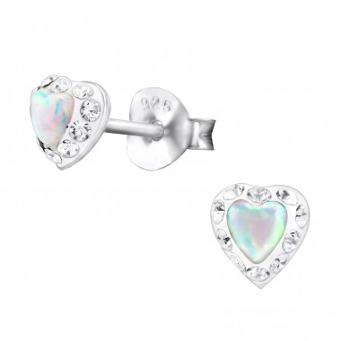 Heart - 925 Sterling Silver Ear Studs with semi-precious stones A4S31168