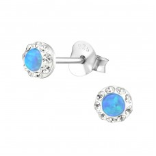 Round Opal - 925 Sterling Silver Ear Studs with semi-precious stones A4S31173