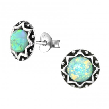 Round - 925 Sterling Silver Ear Studs with semi-precious stones A4S31224