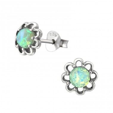 Flower Opal - 925 Sterling Silver Ear Studs with semi-precious stones A4S31227