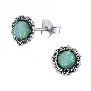 Flower - 925 Sterling Silver Ear Studs with semi-precious stones A4S31229