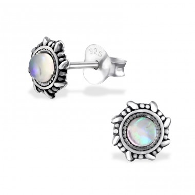 Oxidized - 925 Sterling Silver Ear Studs with semi-precious stones A4S31230