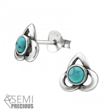Celtic - 925 Sterling Silver Ear Studs with semi-precious stones A4S31237
