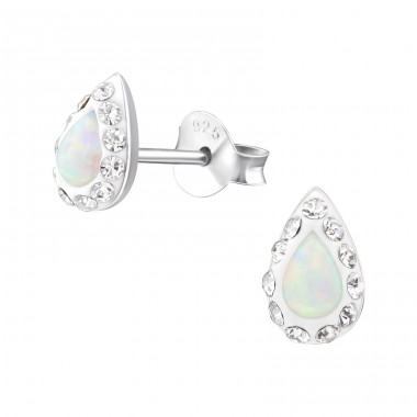 Teardrop Opal - 925 Sterling Silver Ear Studs with semi-precious stones A4S31516