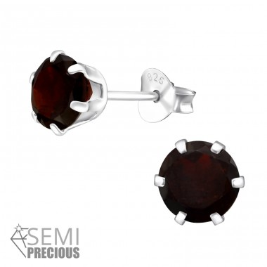 6mm - 925 Sterling Silver Ear Studs with semi-precious stones A4S32034