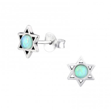 Star - 925 Sterling Silver Ear Studs with semi-precious stones A4S32036
