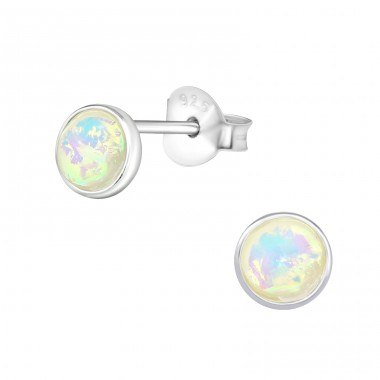 Round - 925 Sterling Silver Ear Studs with semi-precious stones A4S32037