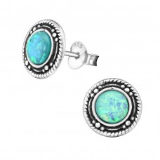 Round - 925 Sterling Silver Ear Studs With Semi-Precious Stones A4S32038