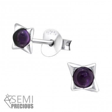 Star - 925 Sterling Silver Ear Studs with semi-precious stones A4S32075