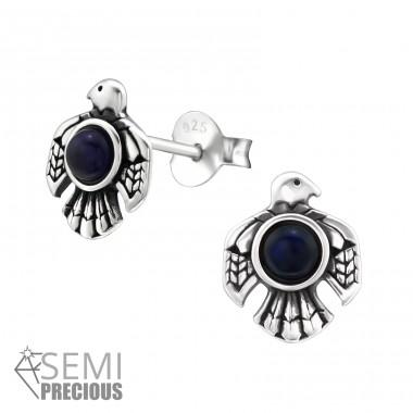 Eagle - 925 Sterling Silver Ear Studs with semi-precious stones A4S32076