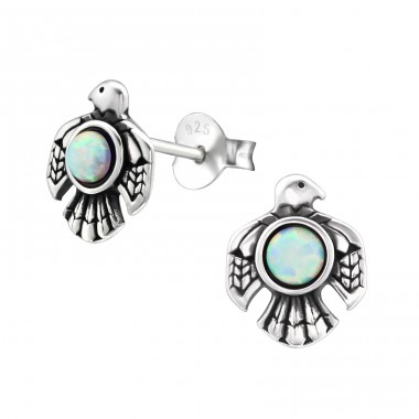 Eagle Opal - 925 Sterling Silver Ear Studs with semi-precious stones A4S32077